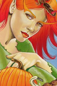 A red-haired fairy wearing a green robe sits next to a pumpkin.