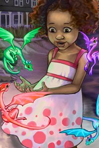 A young girl plays with a small group of colorful dragons.