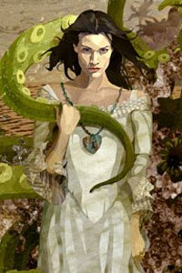 A woman wearing a white dress embraces a large green tentacle.