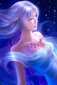 A blue-haired woman wearing a gauzy dress floats in deep blue water.