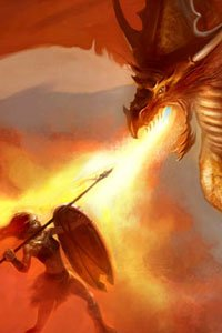 A large dragon belches flame upon a lone spear-wielding warrior.