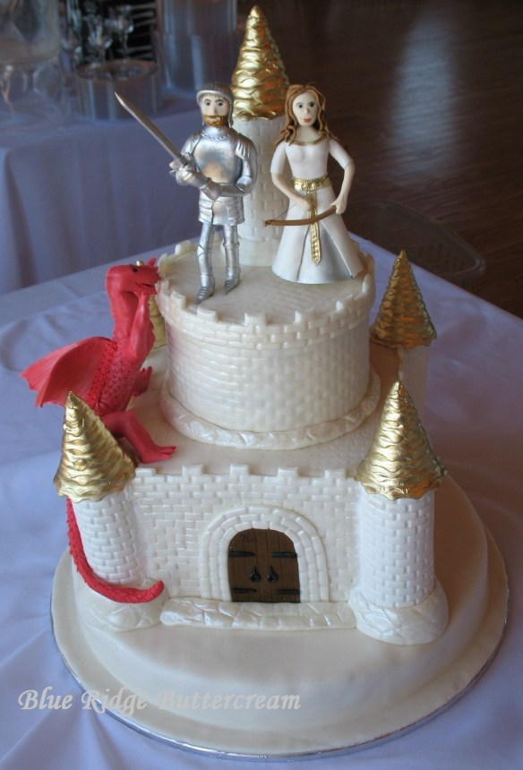Marble Round Castle Wedding Cake With Dragon, Princess, And Knight
