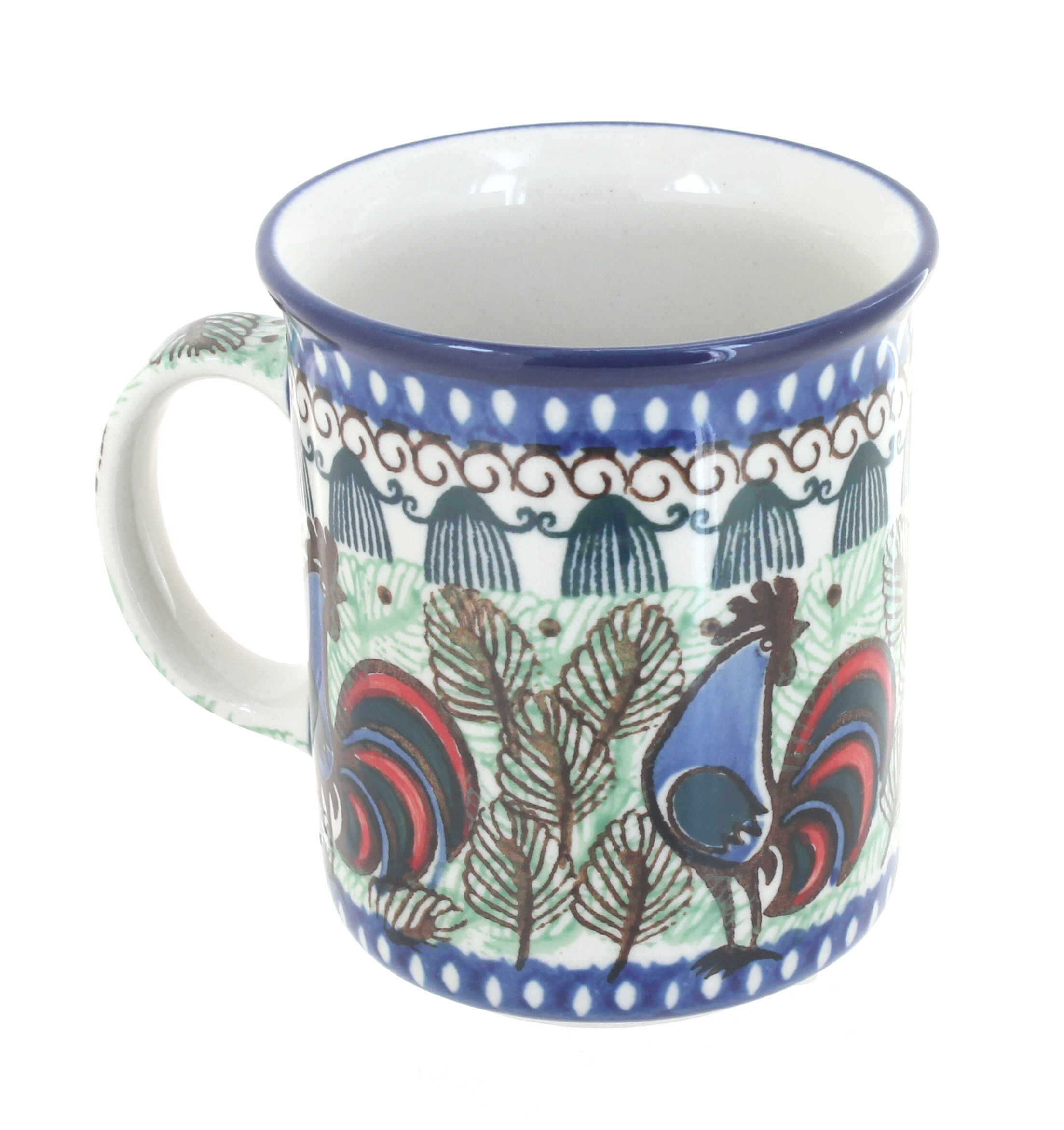 Red Rooster Coffee Garden Valley Blue Rose Polish Pottery Rooster Row Small Coffee Mug