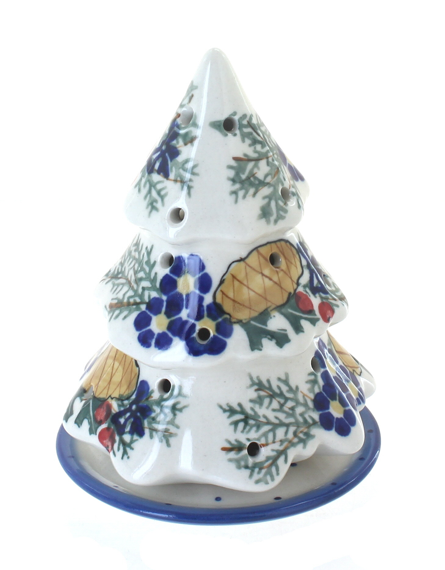 Peacock Paper Towel Holder Blue Rose Polish Pottery Pinecone Christmas Tree Luminary