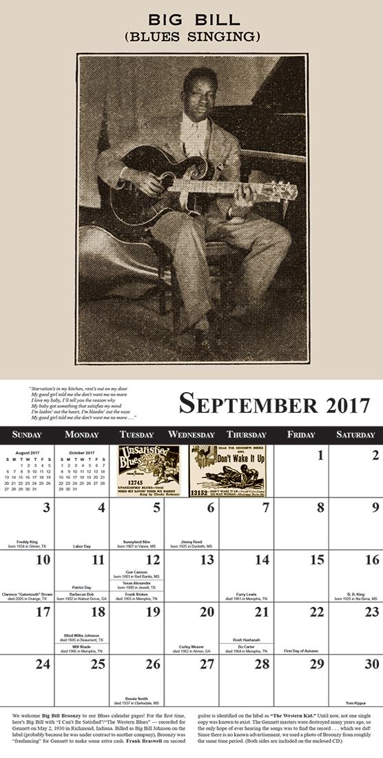 Blues Images 2017 Blues Calendar sample month