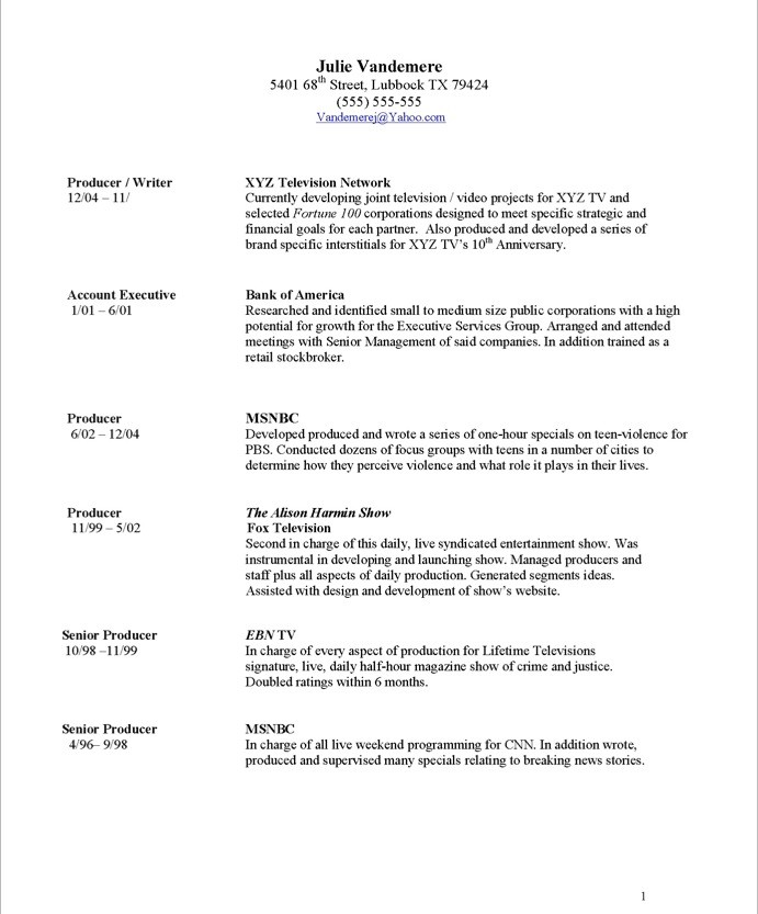 Resume Samples - TV Producer Blue Sky Resumes Blog