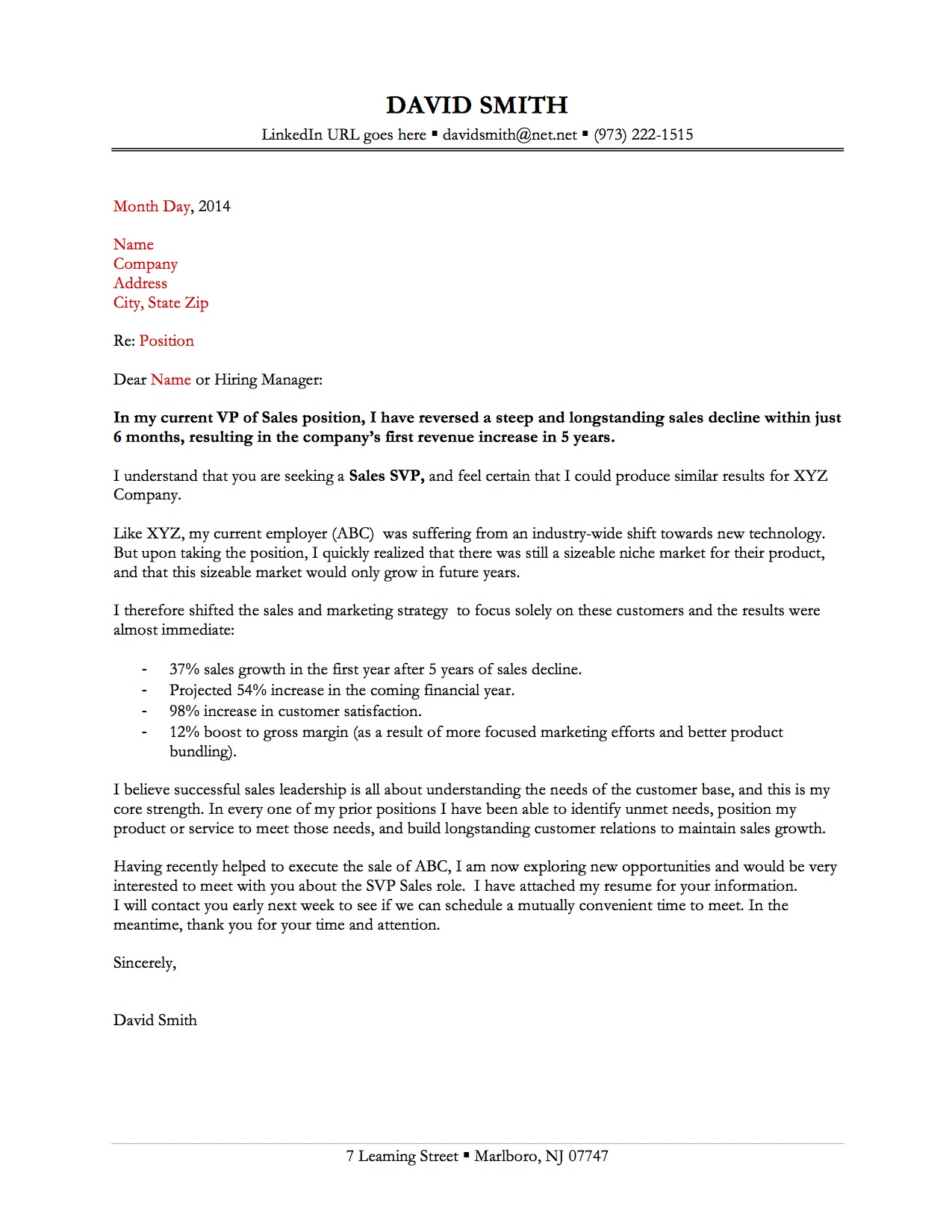 good resume cover letter sample