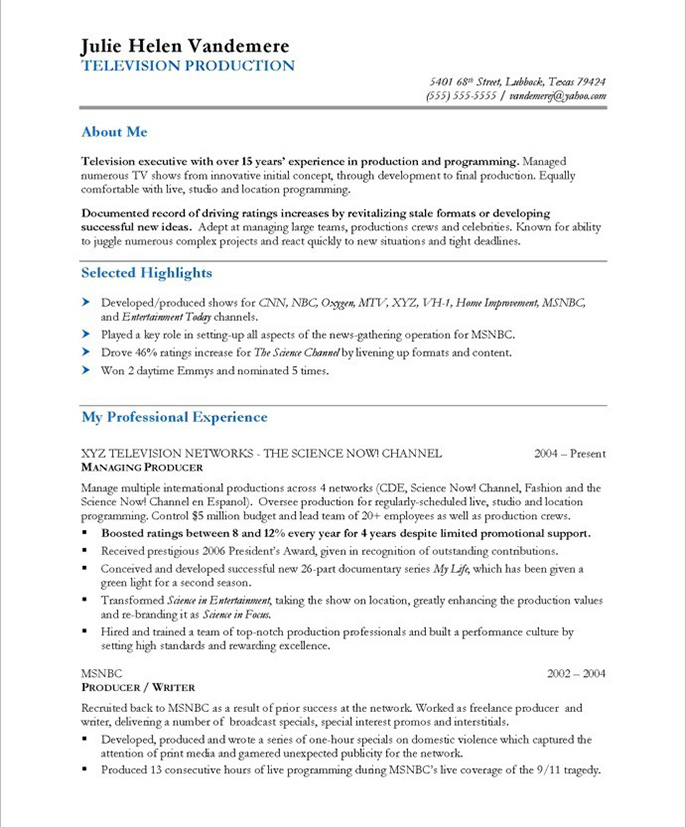 tv producer resume