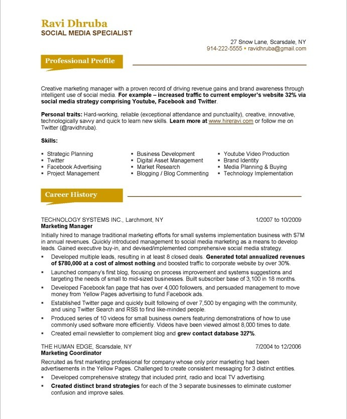 social media sample resume - Onwebioinnovate