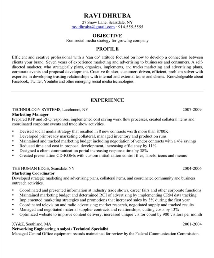 Sample Resume Makeover Social Media Marketing Blog Blue Sky Resumes