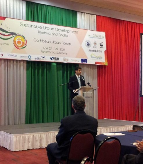 Figure 1 His Excellency Mr. Ashwin Adhin, Vice President of Suriname, giving his feature address at the CUF2016 Opening Ceremony
