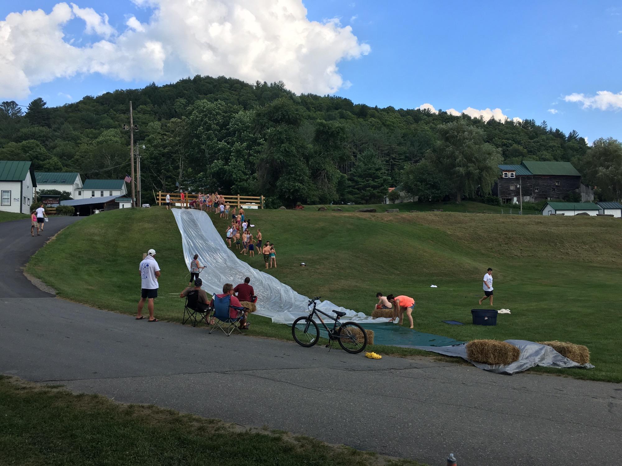 Slip and Slide at Summer Camp