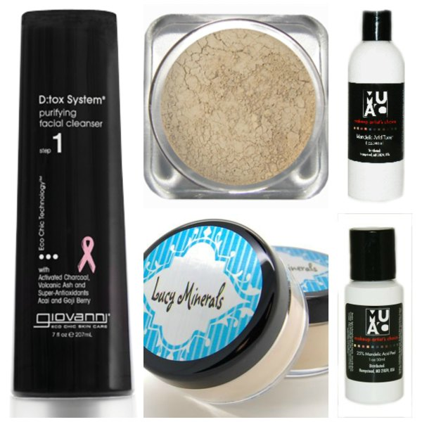 Giovanni D:Tox Purifying Cleanser, Makeup Artist's Choice Mandelic Acid, Lucy Minerals finishing powder, Lucy Minerals Juicy Peach, Lumiere Cosmetics Cashmere Foundation