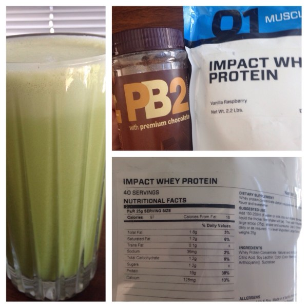 PB&J Protein Shake, Impact Whey Protein in Vanilla Raspberry