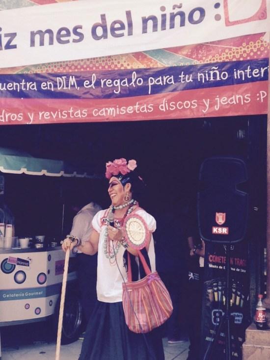Frida Kahlo in drag Mexico City, Farmacia Paris, Paseo de la reforma, mexico city smog