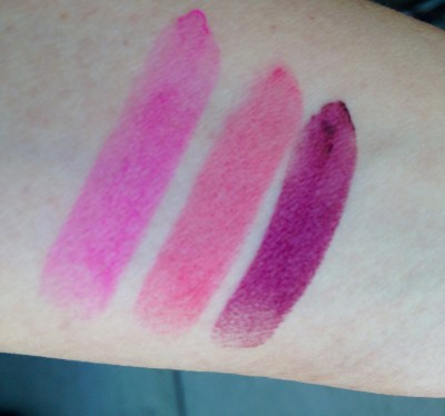 Swatches and review of NYX Butter Lipsticks in Razzle Fiesta, Sweet Tart, and Moonlit Night.