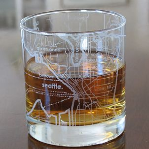 Seattle City Map glass from uncommon goods