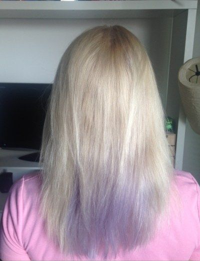 I used Ion Color Brilliance Brights in Lavender on my hair