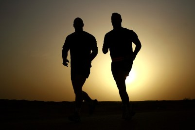 Silhouettes Athletes Healthy Runners Men Fitness