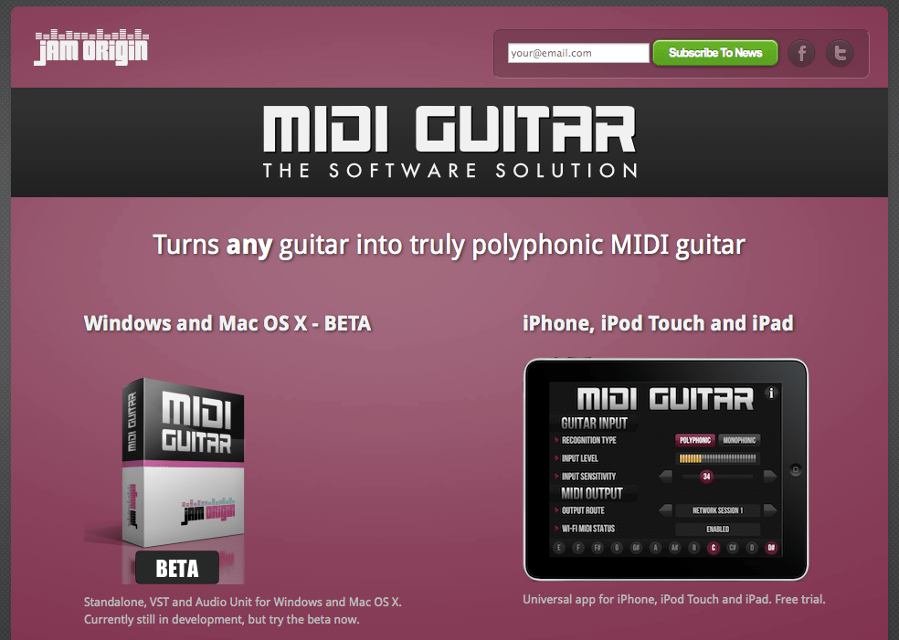 MIDI Guitar App for Desktop & iOS from JamOrigin
