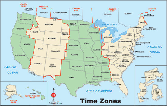 Grayscale Us Time Zone Map - Time zones usa