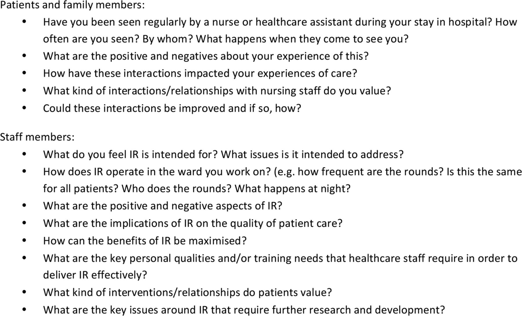 examples of questionaires