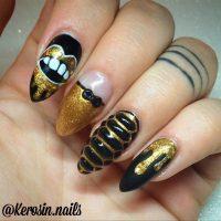 Glamorous Black and Gold Nail Designs - Be Modish