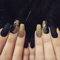 Black And Gold Glitter Nail Designs | www.imgkid.com - The ...