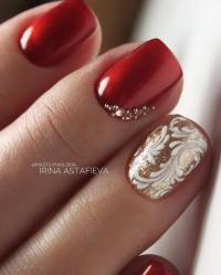 50 Luminous Red and Gold Nail Designs - Be Modish