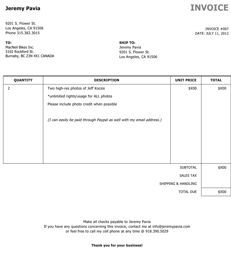 photography invoice template word - invoice template for photographers