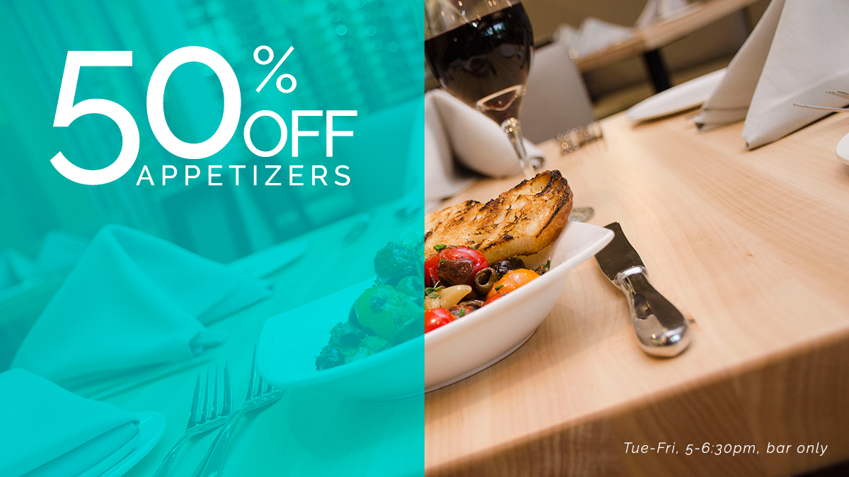 50% off appetizers