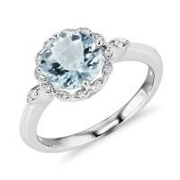 Aquamarine and Diamond Milgrain Halo Ring in 14k White ...