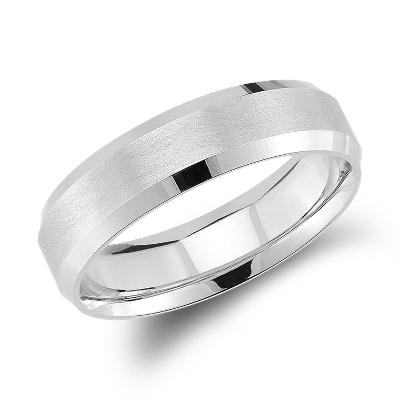 beveled edge matte wedding ring 14k white gold 6 mm white wedding band Beveled Edge Matte Wedding Ring in 14k White Gold 6mm