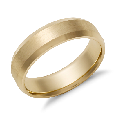 beveled edge wedding ring 14k yellow gold 6 mm yellow gold wedding rings Beveled Edge Matte Wedding Ring in 14k Yellow Gold 6mm