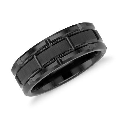black tungsten carbide wedding ring tungsten carbide wedding bands Link Wedding Band in Black Tungsten Carbide 8mm