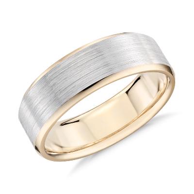 brushed beveled wedding ring white rose gold gold wedding rings Brushed Beveled Edge Wedding Ring in 14k White and Rose Gold 7mm