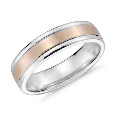 brushed inlay wedding ring 14k white rose gold rose gold wedding rings Brushed Inlay Wedding Ring in 14k White and Rose Gold 6mm