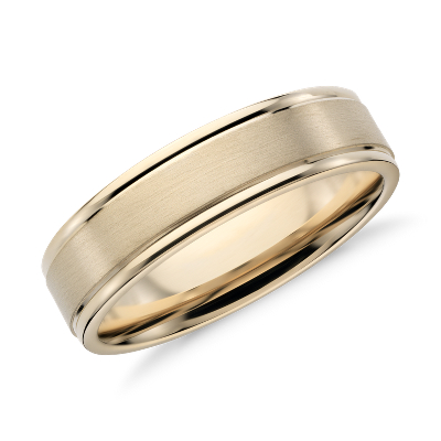brushed inlay wedding ring 14k white rose gold mens gold wedding rings Brushed Inlay Wedding Ring in 14k White and Rose Gold 6mm