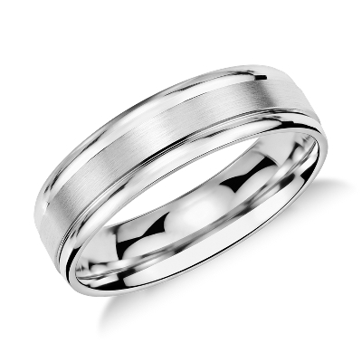 annual ring event wedding ring sale Brushed Inlay Wedding Ring in Platinum 6mm