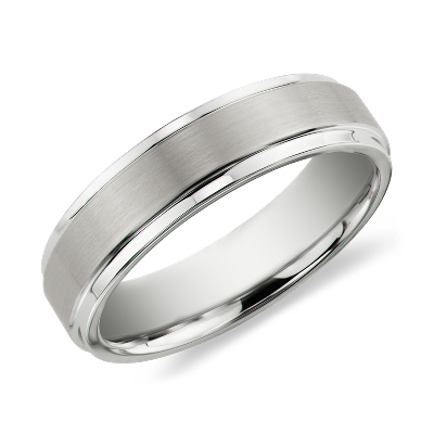 brushed polished comfort fit ring tungsten tungsten carbide wedding band Brushed and Polished Comfort Fit Wedding Ring in White Tungsten Carbide 6mm