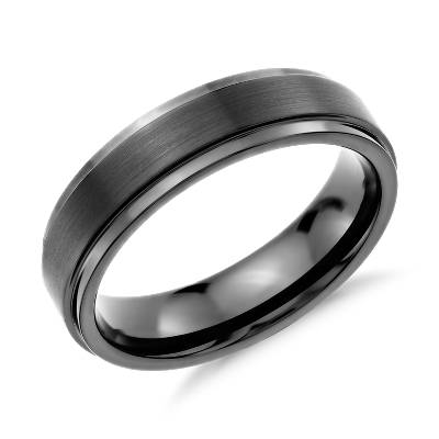 brushed polished comfort fit wedding ring gray tungsten grey tungsten wedding bands Brushed and Polished Comfort Fit Wedding Ring in Classic Gray Tungsten Carbide 6mm