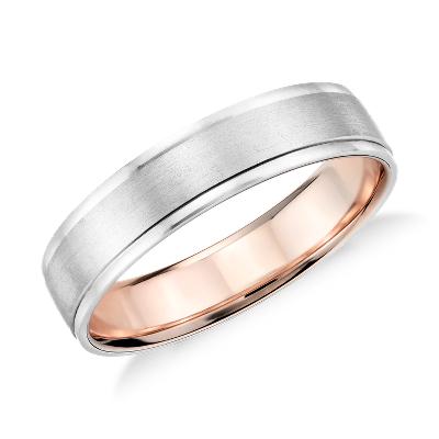 brushed wedding ring platinum 18k rose gold brushed gold wedding band Brushed Inlay Wedding Ring in Platinum and 18k Rose Gold 5mm