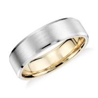 Matte Beveled Edge Wedding Ring in Platinum and 18K Yellow ...