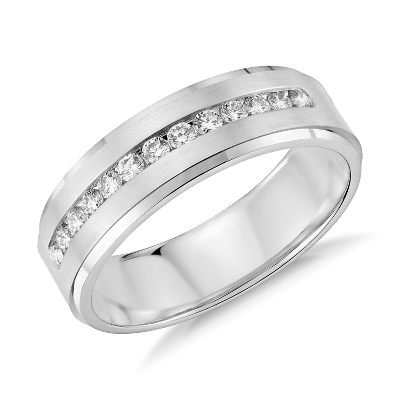 diamond channel set wedding ring white gold white wedding band Diamond Channel Set Wedding Ring in 14k White Gold 1 3 ct