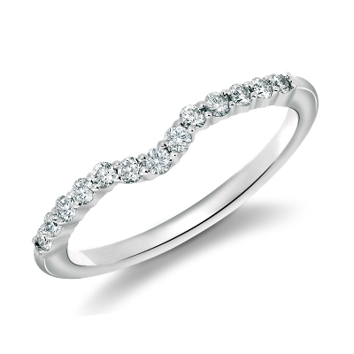 diamond wedding ring classic wedding rings Classic Curved Diamond Wedding Ring in 18k White Gold 1 4 ct tw