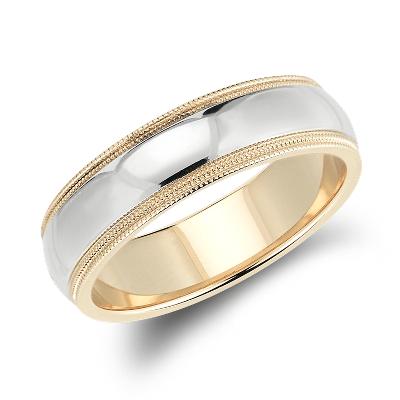 double milgrain wedding ring 14k white gold yellow gold wedding rings Double Milgrain Comfort Fit Wedding Ring in 14k White and Yellow Gold 6mm