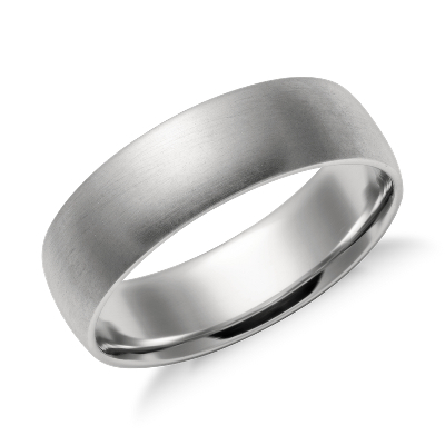 high dome wedding ring platinum 6 mm men wedding rings Matte Mid weight Comfort Fit Wedding Band in Platinum 6mm