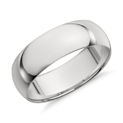 high dome wedding ring platinum 7 mm mens platinum wedding rings Mid weight Comfort Fit Wedding Band in Platinum 7mm