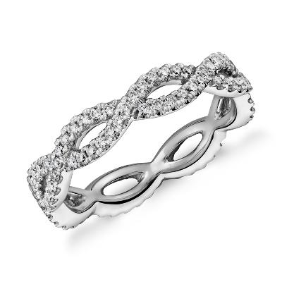 infinity twist eternity ring 14k white gold infinity twist wedding band Infinity Twist Eternity Ring in 14k White Gold 1 2 ct tw