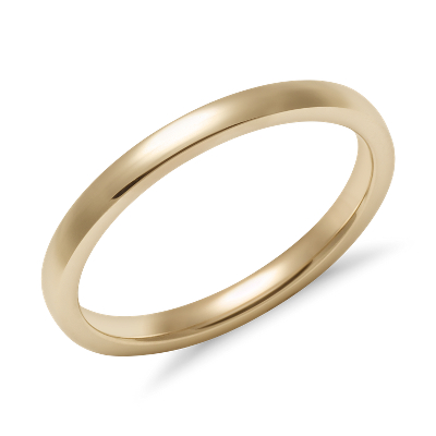 low dome comfort fit ring 14k yellow gold wedding bands gold Low Dome Comfort Fit Wedding Ring in 14k Yellow Gold 2mm